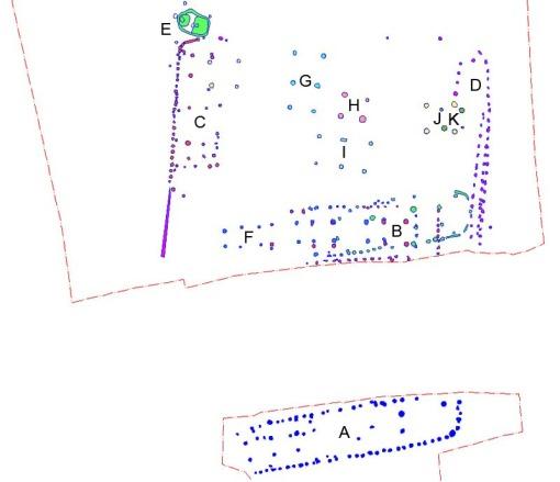 """Plan over romertidsgården. Bemærk at planen er """"renset"""" for alle andre anlæg end de, der omtales i teksten."""