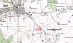 De søgegrøfter der er gravet til i dag er markeret med rødt
