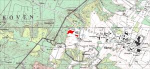 Rødt markerer udgravningsfelterne